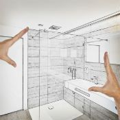 Planning stage of bathroom remodeling project